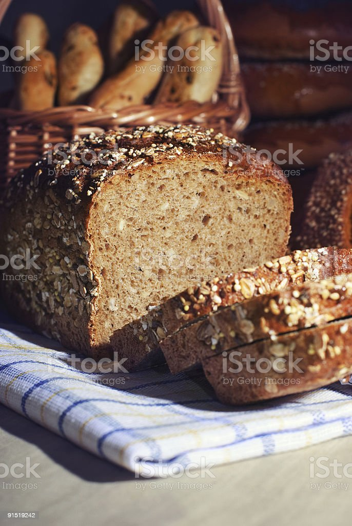 Loaf of brown bread. stock photo