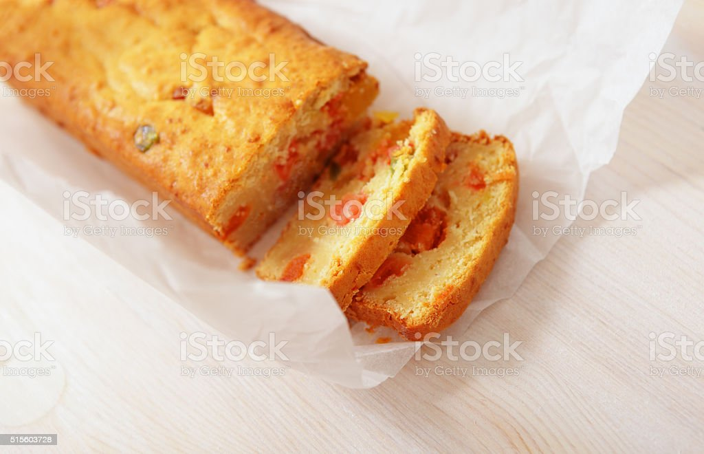 Loaf of candied  fruitcake. stock photo
