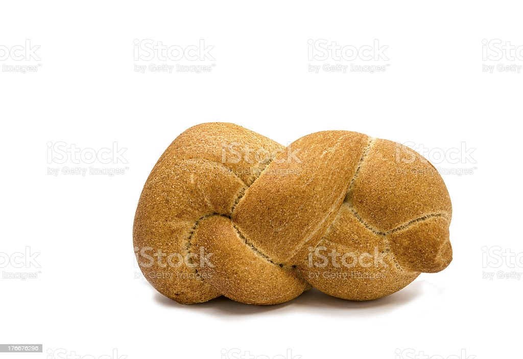Loaf of challah bread isolated on white royalty-free stock photo