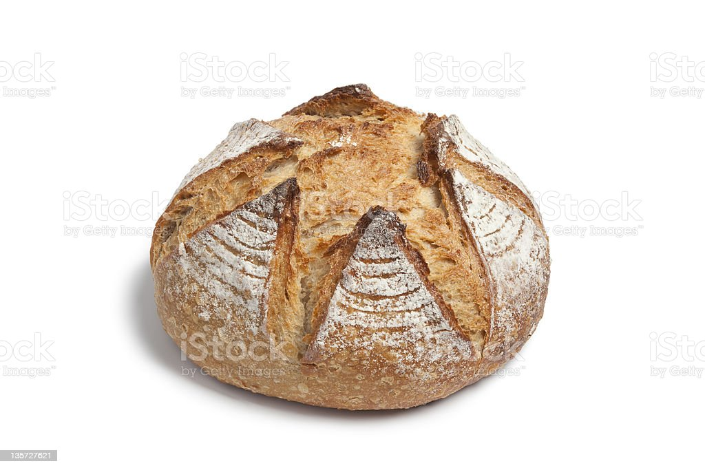 Loaf of circular homemade bread on white background  stock photo