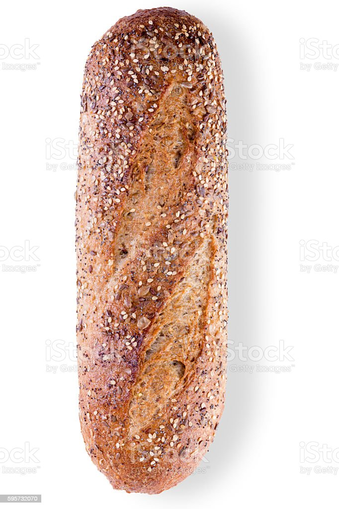 Loaf of crusty wholegrain bread with seeds stock photo