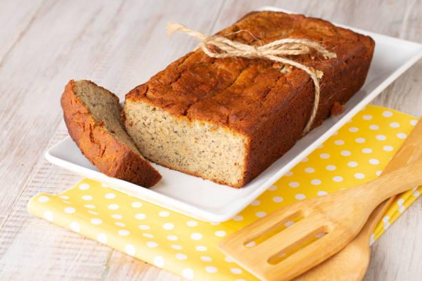 Loaf of Gluten Free Banana Bread Breakfast stock photo