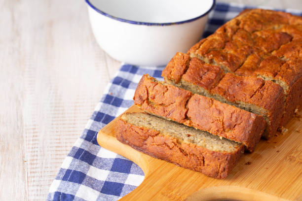 Loaf of Gluten Free Banana Bread For Breakfast stock photo