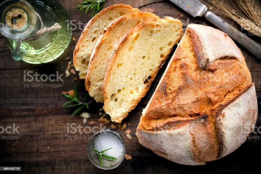 Loaf of rustic homemade bread stock photo
