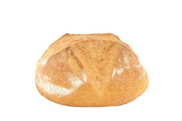 loaf of white bread A loaf of fresh bread on a white background with path. round loaf stock pictures, royalty-free photos & images