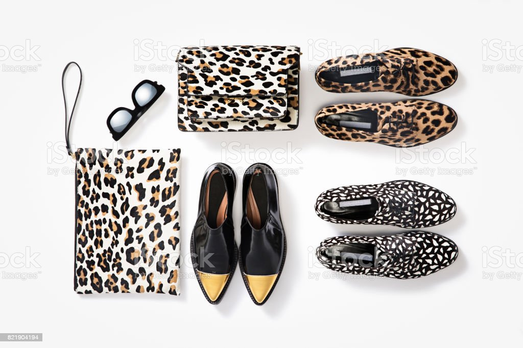 Loafers and clutch bags stock photo