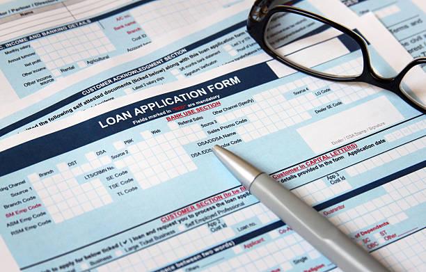 Loan application form stock photo