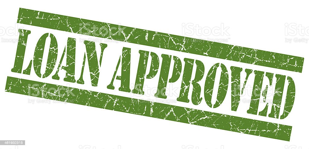 Loan approved grunge green stamp stock photo