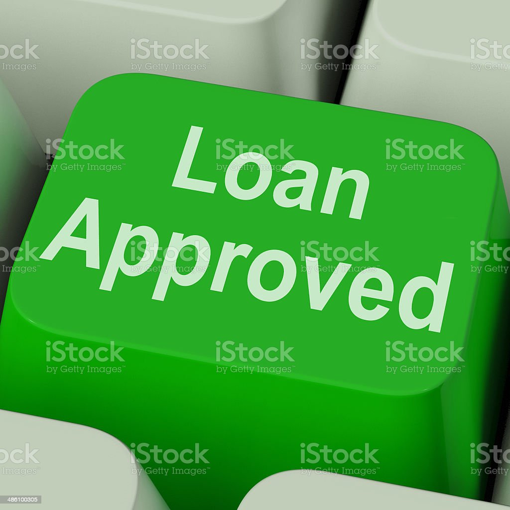 Loan Approved Key Shows Credit Lending Agreement stock photo
