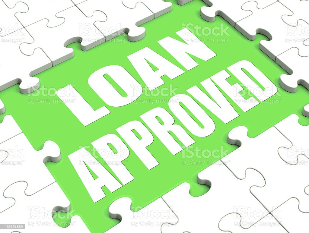 Loan Approved Puzzle Shows Credit Lending Agreement Approval stock photo