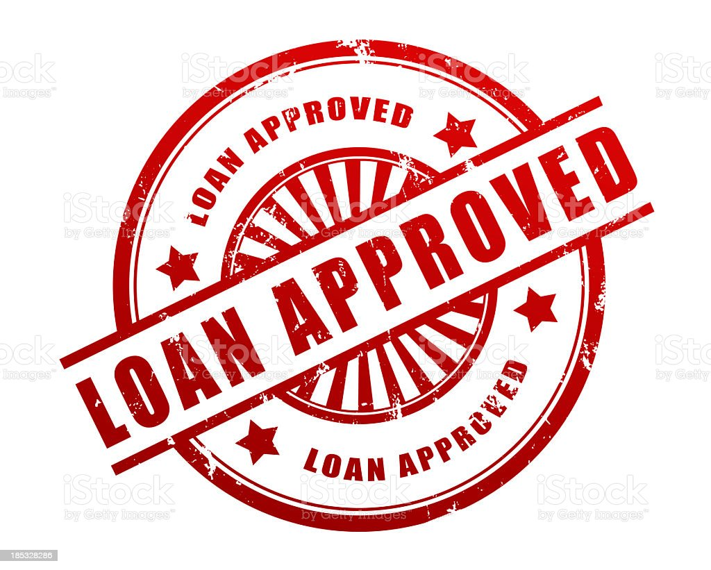 Loan Approved Rubber Stamp stock photo