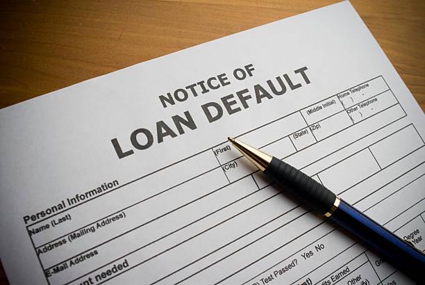 Loan Default document. stock photo