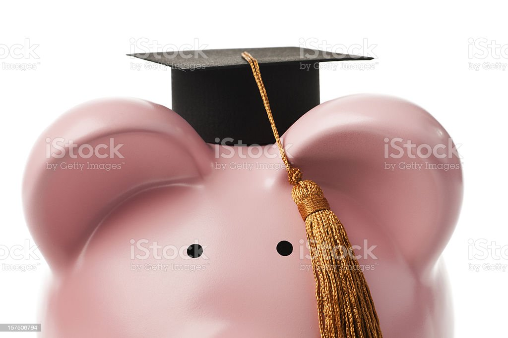 Loan for University Education Finance Planning in Piggy Bank Savings Subject: A piggy bank wearing a graduation hat isolated on a white background. Achievement Stock Photo