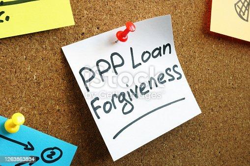 istock PPP loan forgiveness memo on the board. 1263863834