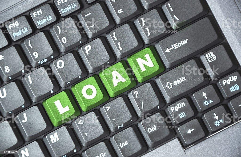 Loan on keyboard royalty-free stock photo