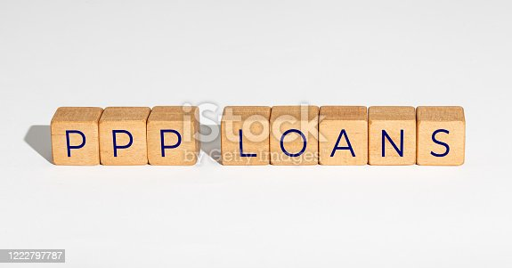 PPP Loan Paycheck Protection Program concept. Wooden blocks with text on white background. Copy space