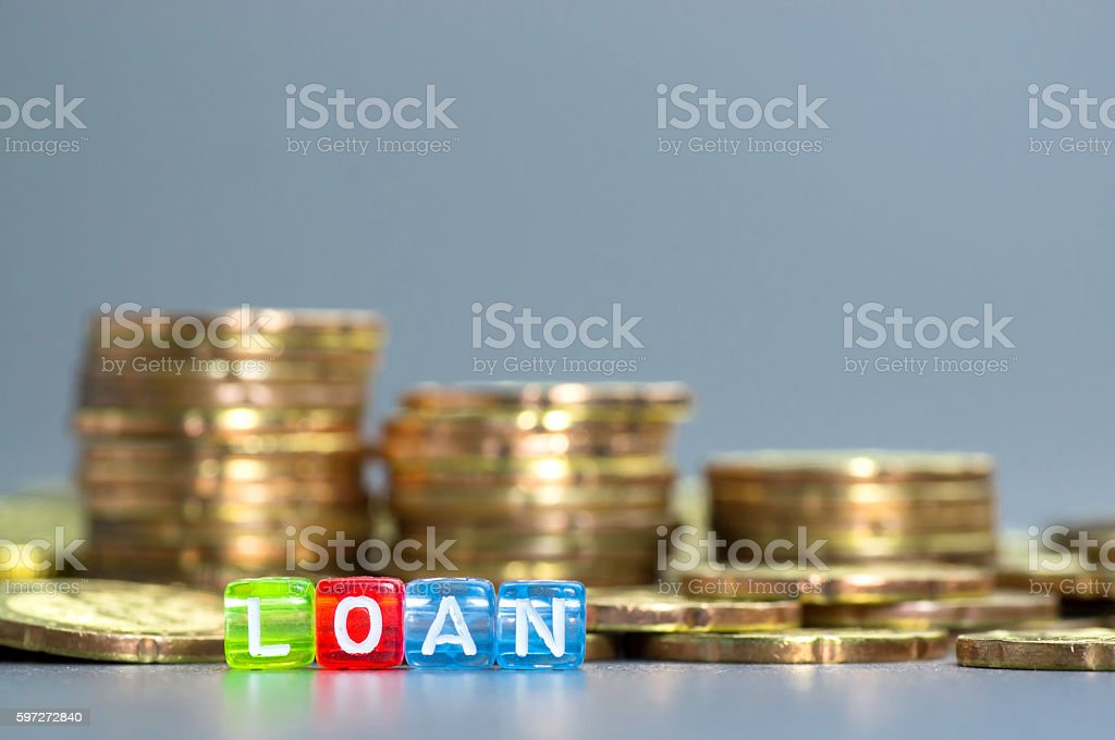 Loan text on dices royalty-free stock photo