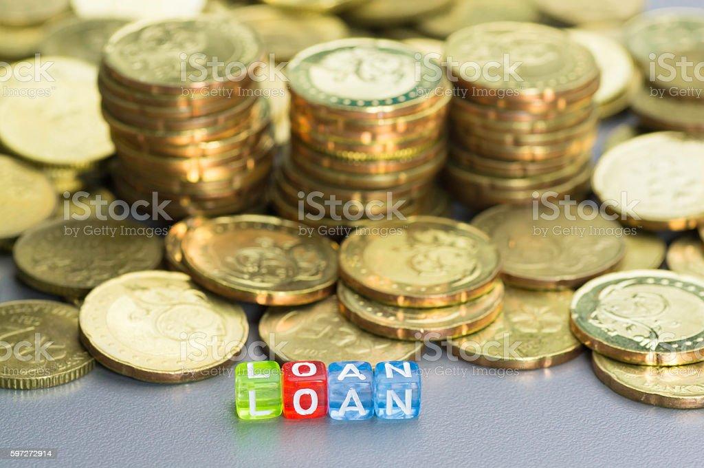 Loan text on dices Lizenzfreies stock-foto