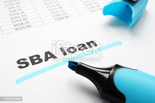 istock SBA loan underlined words and marker. 1202292004