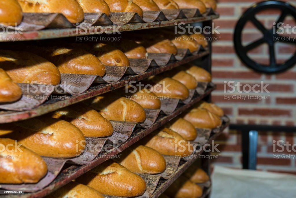 Loaves and baguettes freshly baked stock photo