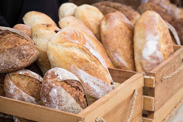 Loaves of Homemade Bread at the Farmer's Market stock photo
