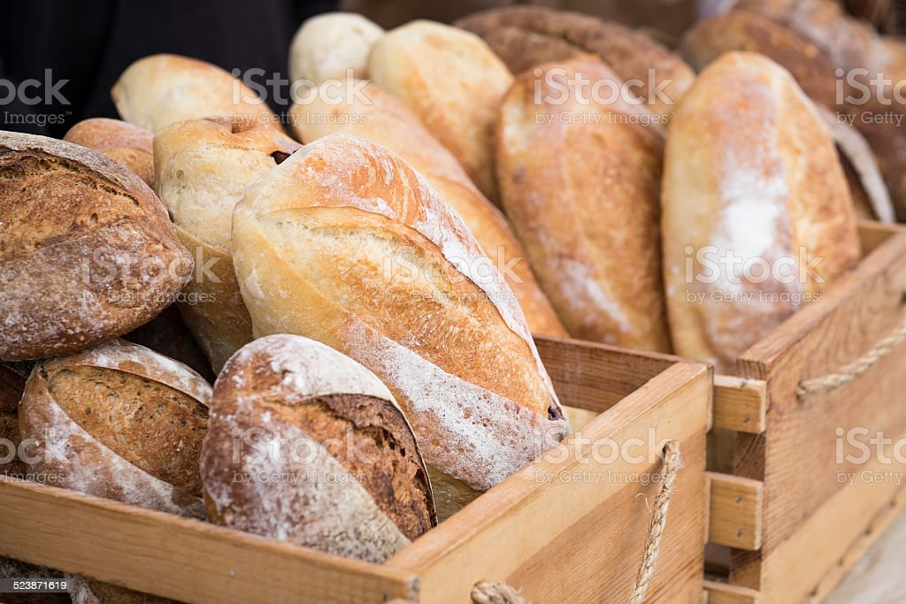 Loaves of Homemade Bread at the Farmer's Market stock photo