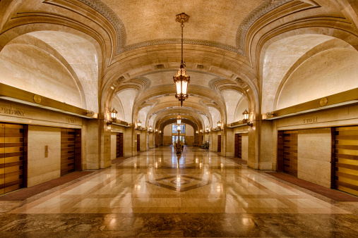 Lobby and elevator banks at City Hall