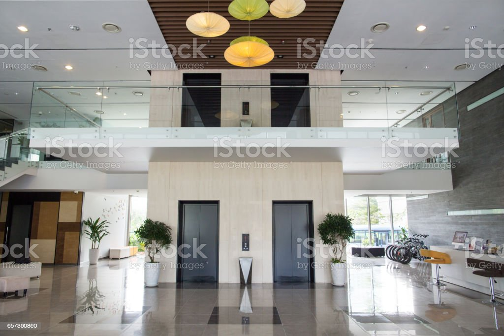 Lobby of modern office building stock photo