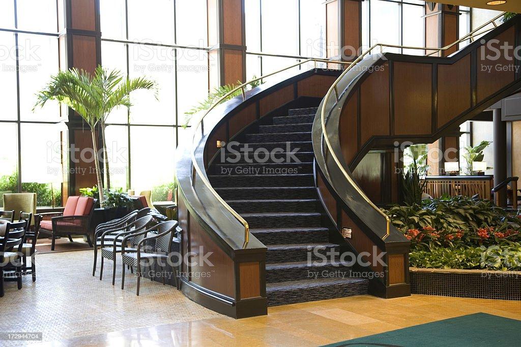 Lobby Staircase in Luxury Hotel Reception Area royalty-free stock photo