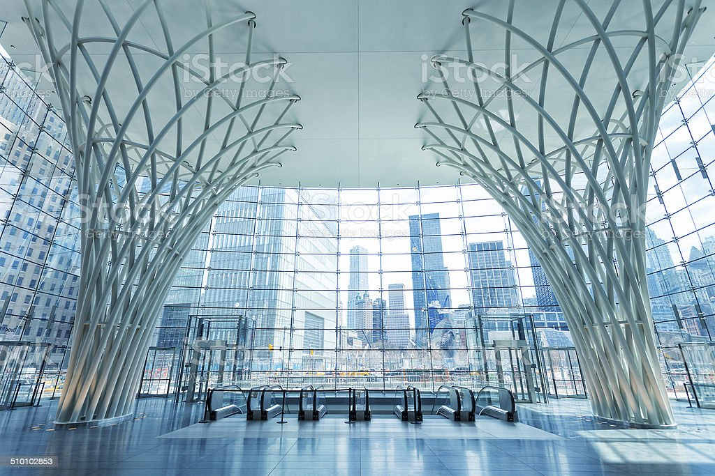 Lobby With View On World Trade Center, New York stock photo
