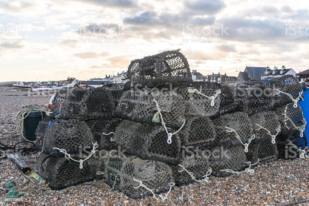 Lobster and Crab traps stack stock photo