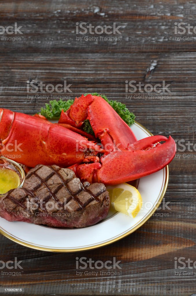 Lobster and Steak Surf 'n' Turf stock photo