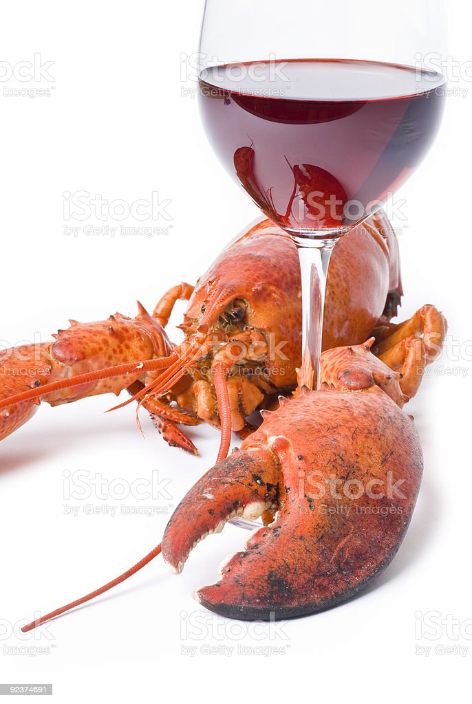 Lobster and Wine royalty-free stock photo