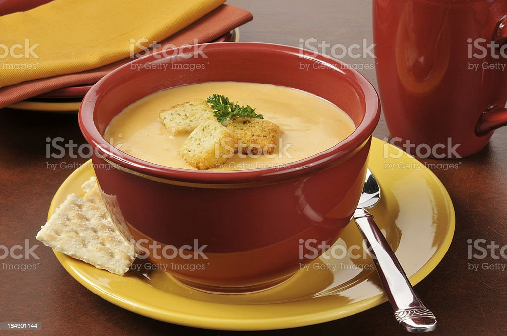 Lobster bisque with croutons stock photo