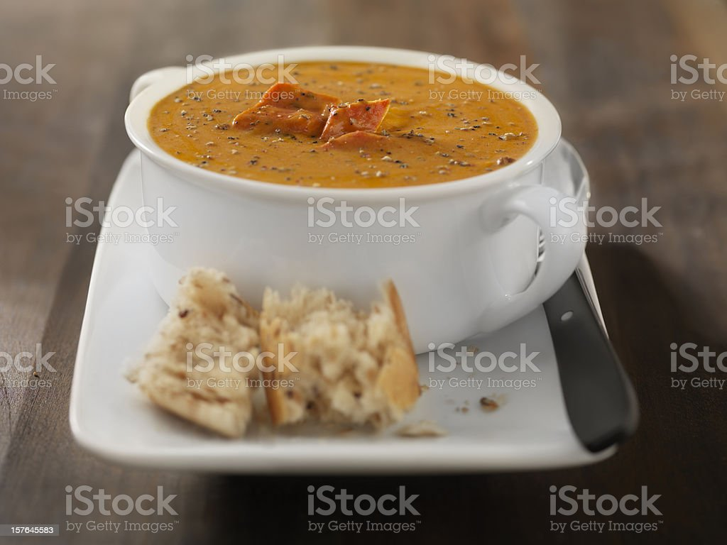 Lobster Bisque with Crusty Bread stock photo