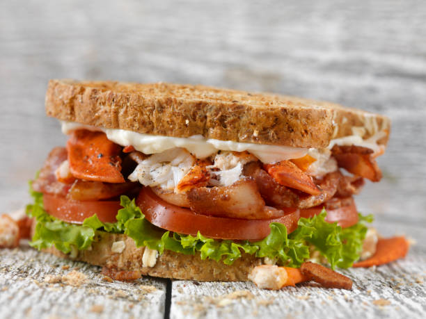 lobster, blt sandwich - club sandwich stock photos and pictures