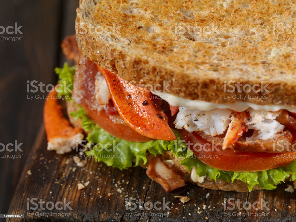 Lobster, BLT Sandwich stock photo