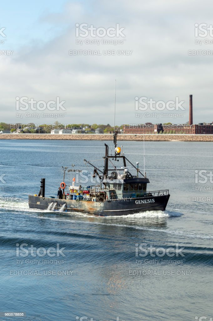 Lobster boat Genesis returning to New Bedford stock photo