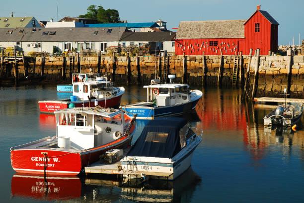 Lobster Boats Docked at Motif 1 stock photo