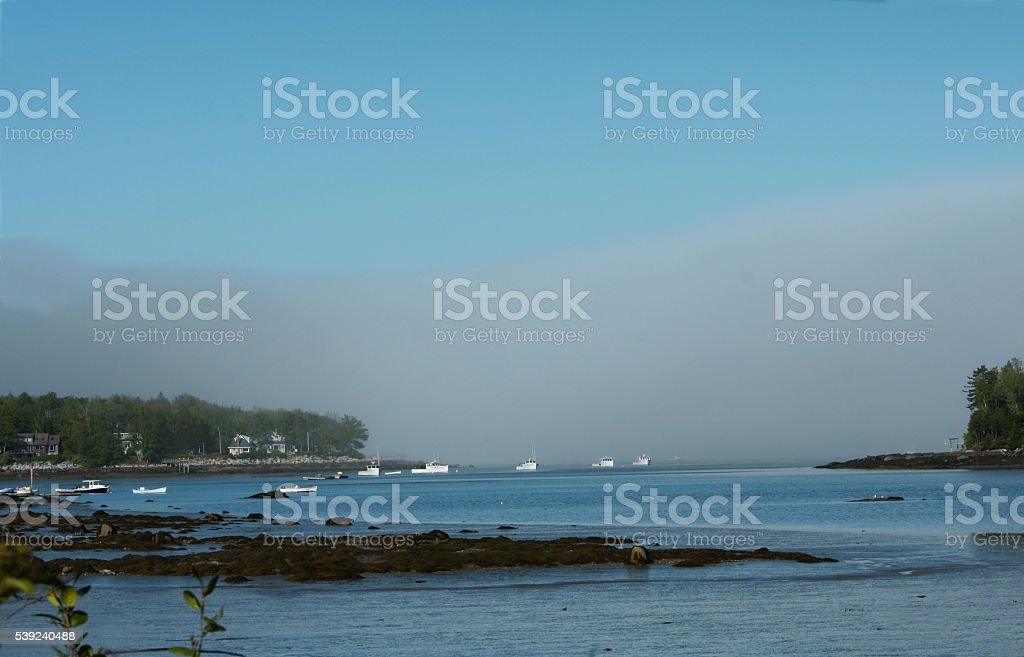 Lobster boats in fog royalty-free stock photo