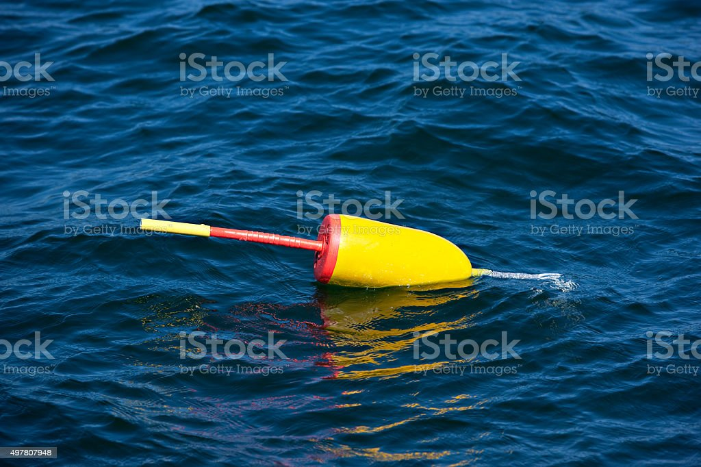 Lobster buoy floating on blue water stock photo