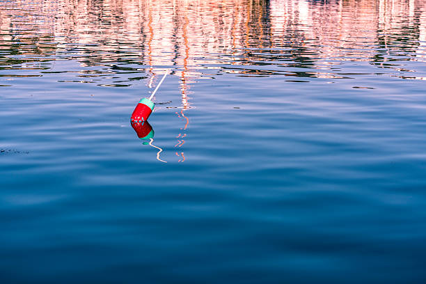 Lobster buoy in Maine reflected in water stock photo