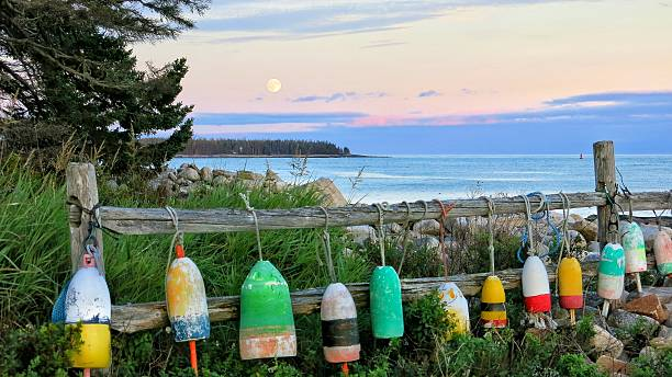 Lobster Buoys Hanging on Fence, Maine Coast, Full Moon stock photo