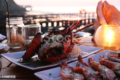 Beachside dining with lobster dinner