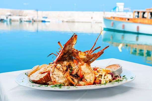 Lobster dish. Greece stock photo