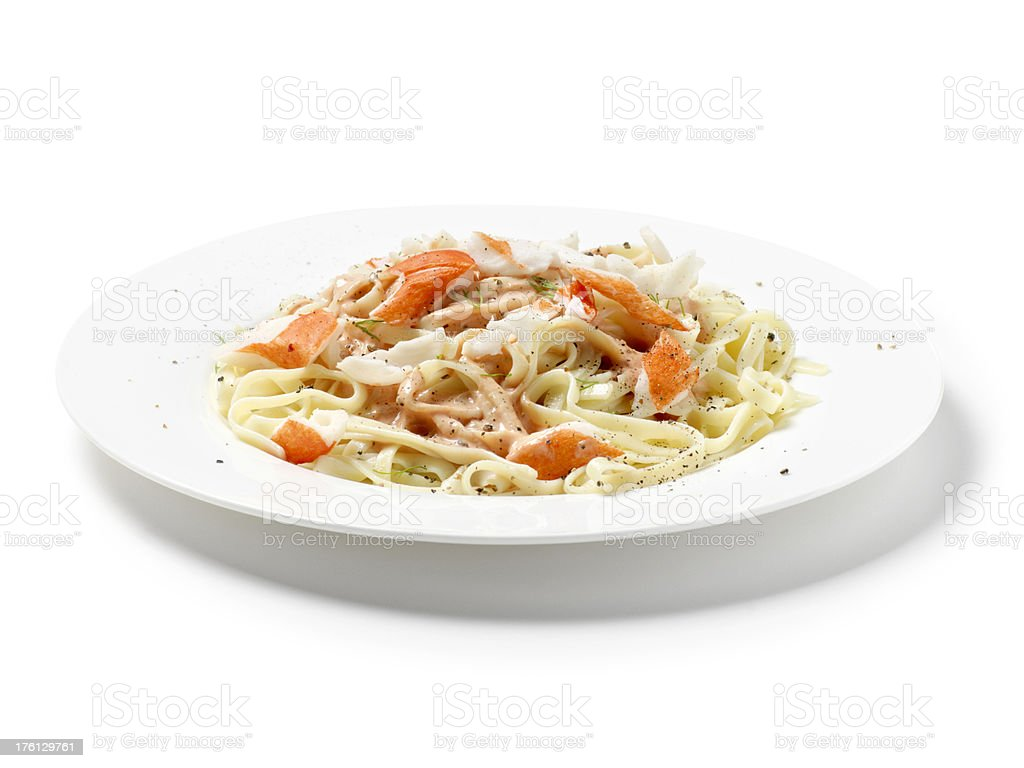 Lobster Fettuccine Pasta in a Rose Sauce royalty-free stock photo