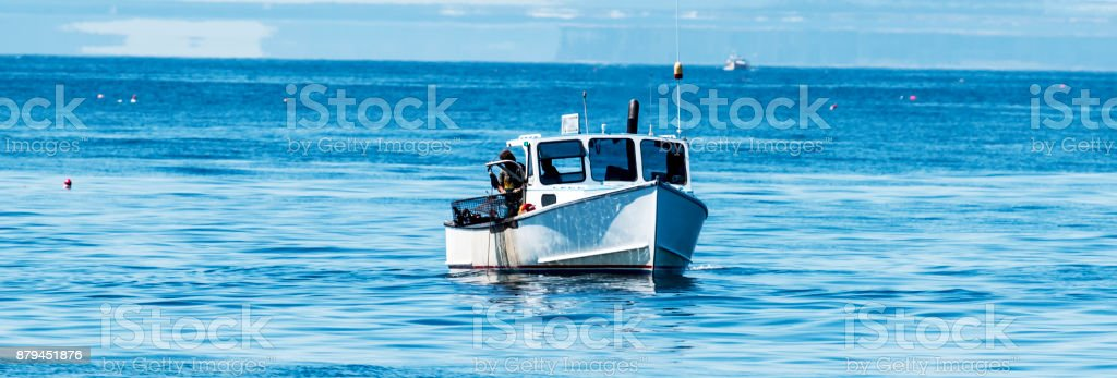 Lobster man pulling up a trap off the coast of Maine stock photo