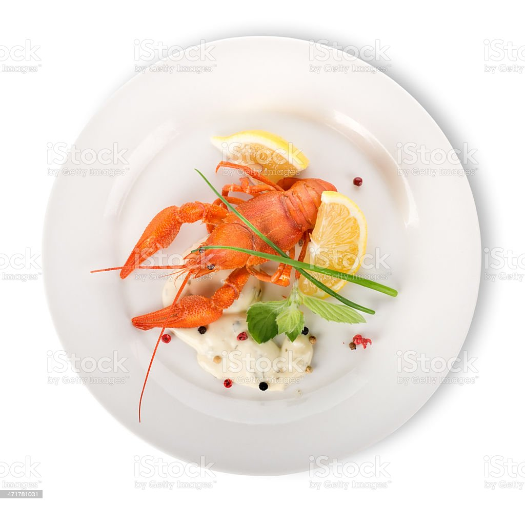 Lobster on a white plate isolated royalty-free stock photo