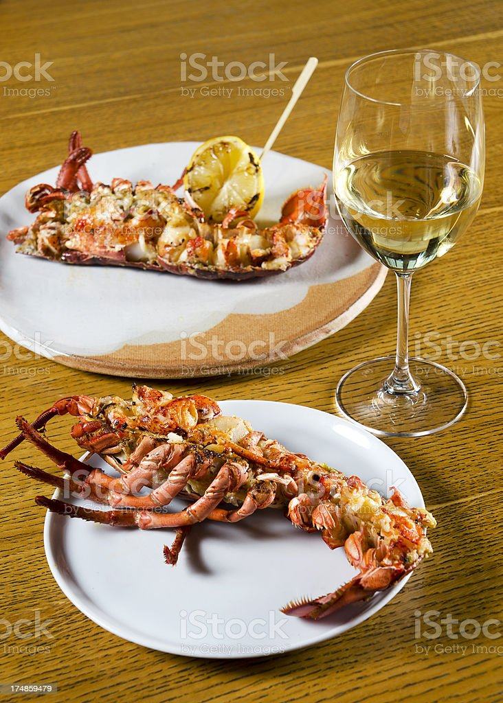 Lobster on plate in restaurant royalty-free stock photo
