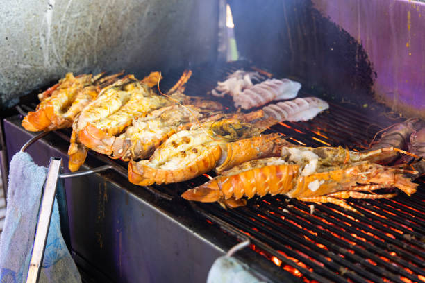 Lobster on the charcoal grill stock photo